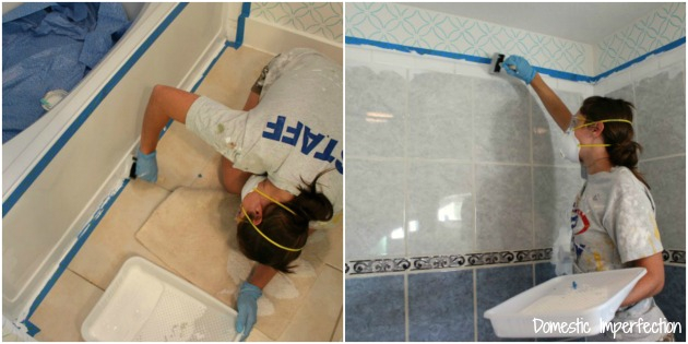 Painting Enamel Bathtub How to Refinish Outdated Tile Yes I Painted My Shower