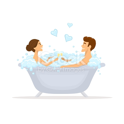 man and woman romantic couple in love in a bathtub taking bubbled bath gm