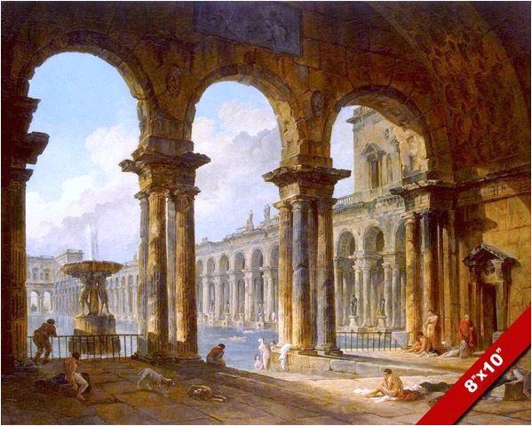 Painting Of Bathtub Ancient Roman Bath Baths Painting Rome Italy Ruins Art