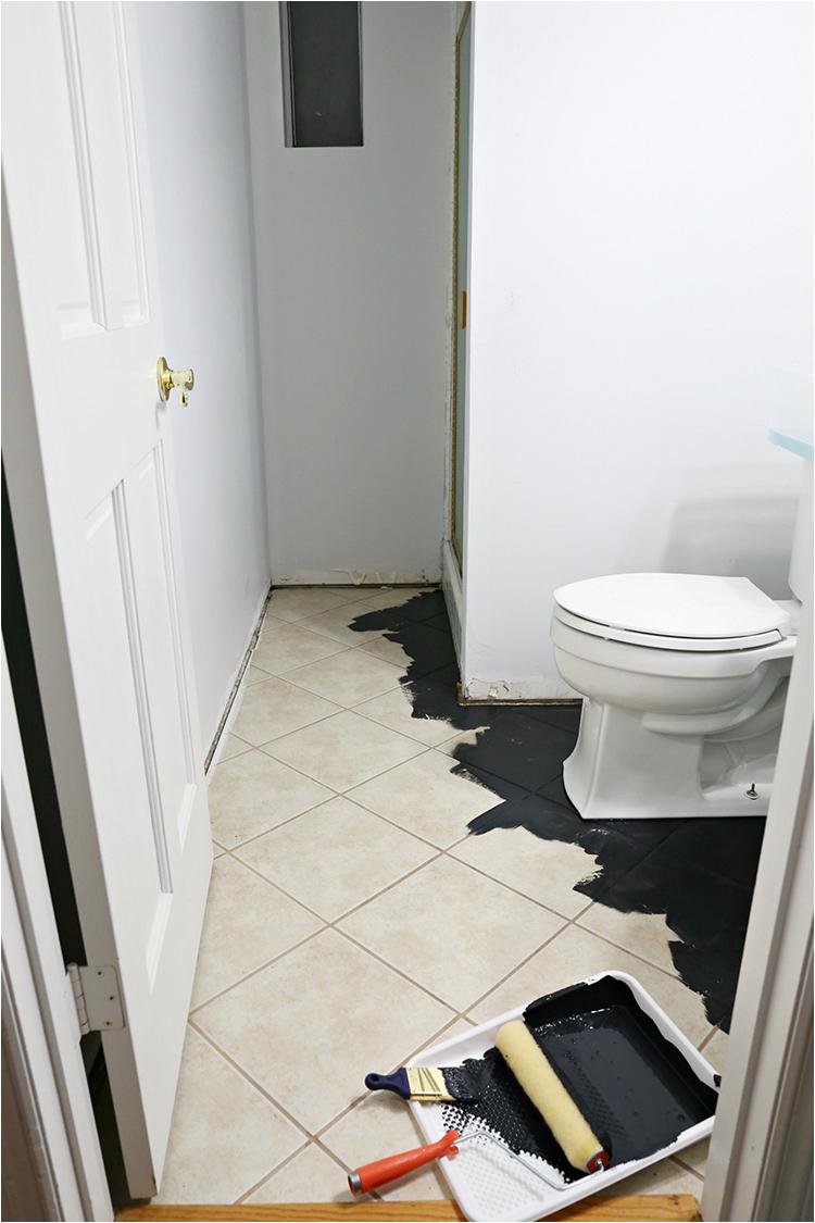 painted stencil bathroom floor
