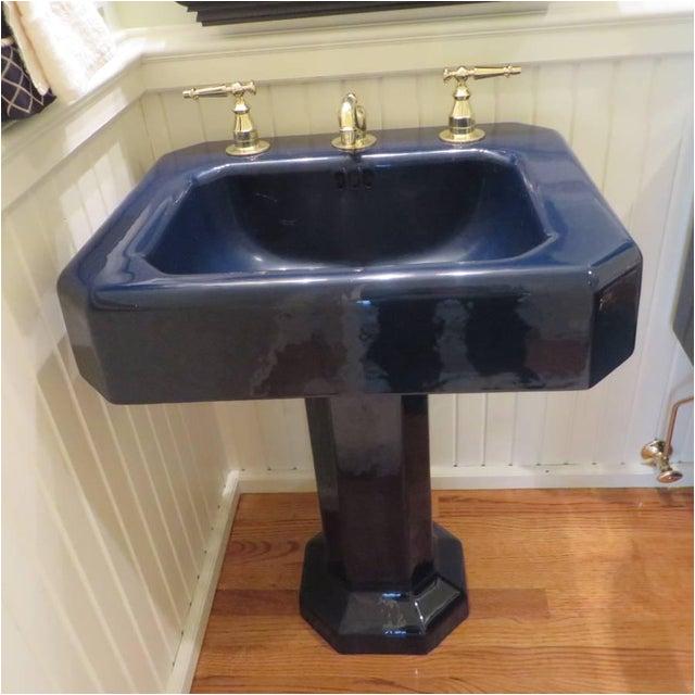 kohler hollywood regency navy blue porcelain pedestal sink