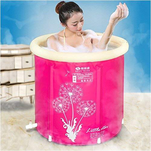 plastic bathtubinflatable bathtub adult with drain portable foldable free standing soaking bath tub sauna inflatable adult indoor tubs easy to installfour seasons function 7575cmpink