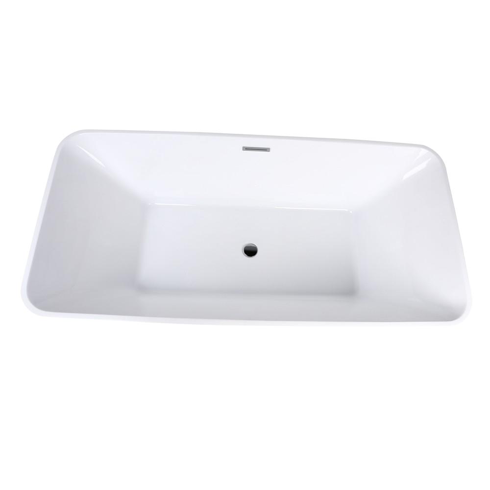 67 rectangular soaking freestanding acrylic bathtub white with chrome center drain overflow