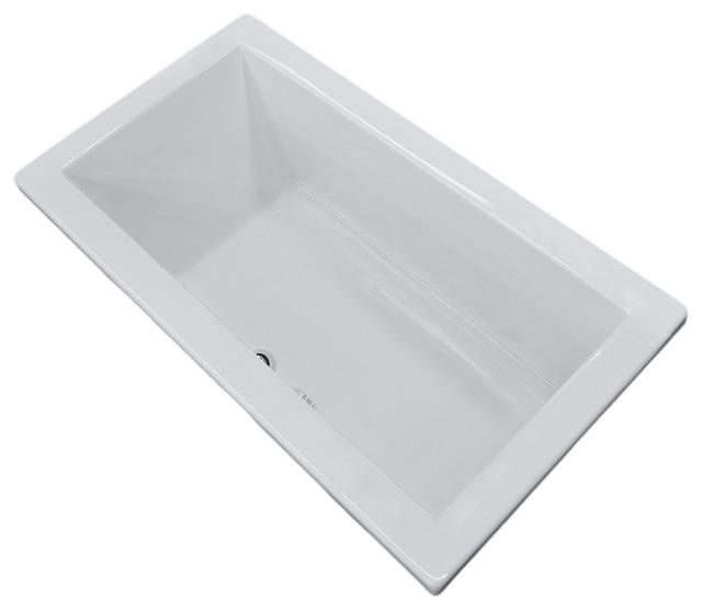 Bronzino 42 x 72 Rectangular Soaker Drop In Bathtub Tub with Center Drain contemporary bathtubs