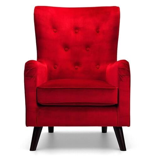 velluto red velvet accent chair