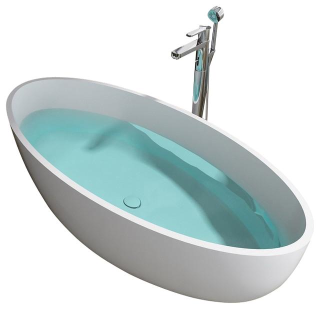 ADM Matte White Stand Alone Resin Bathtub contemporary bathtubs
