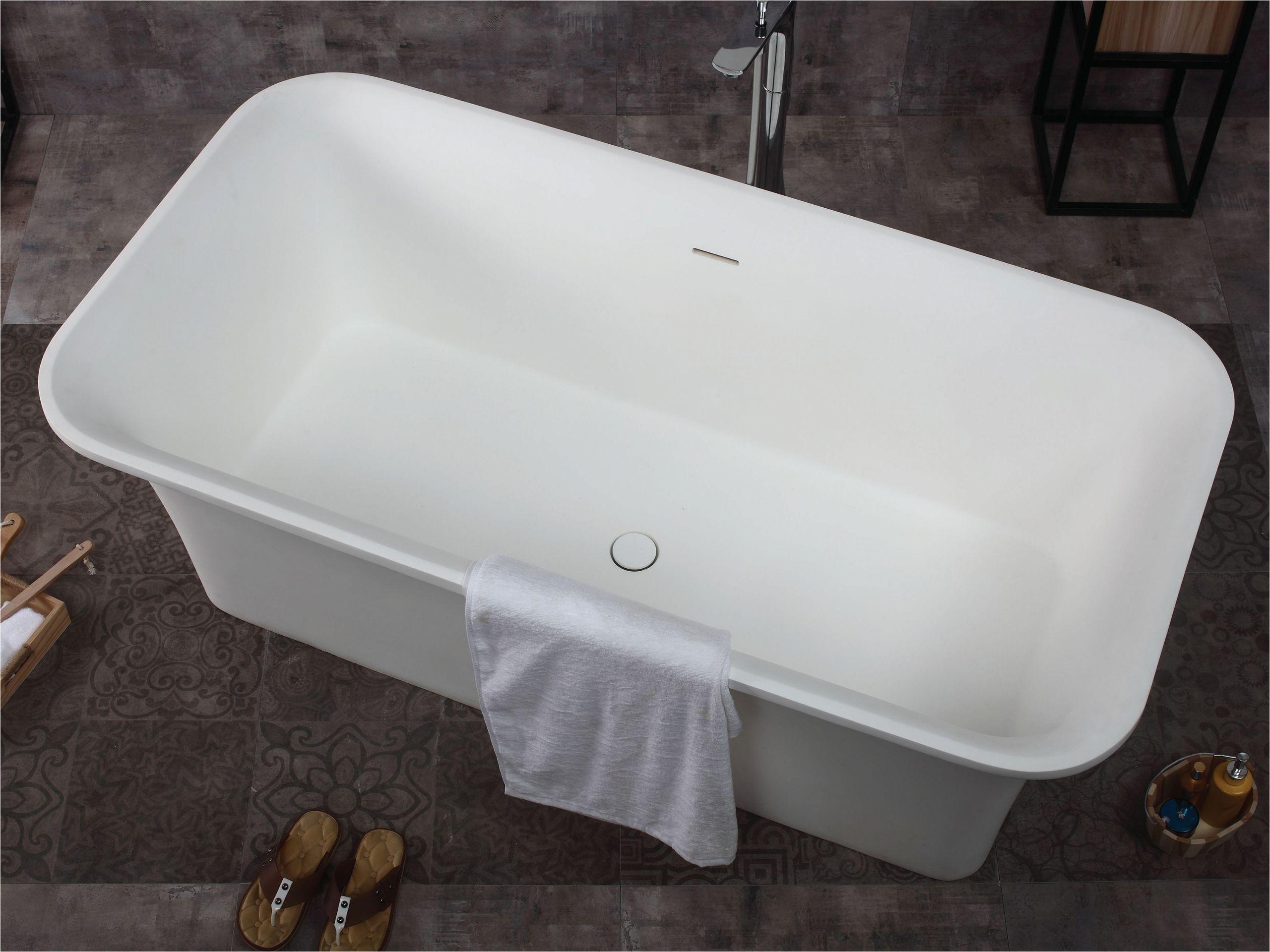 alfi brand ab9942 67 white rectangular solid surface smooth resin soaking bathtub