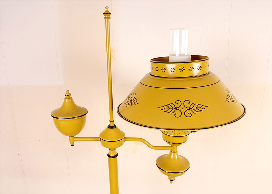 vintage yellow metal tole floor lamp