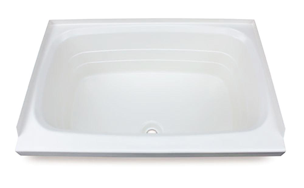 better bath 24 x 36 rv bath tub center drain white color