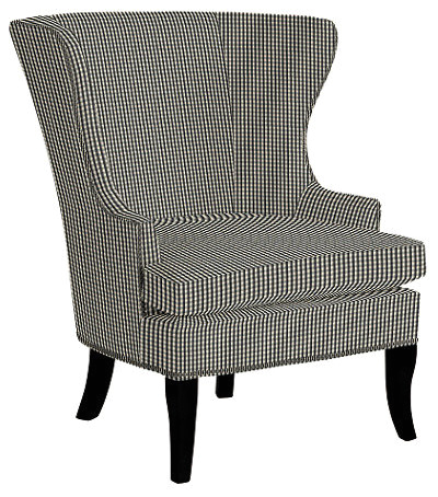 Thurston Wing Chair With Pewter Nailheads Small Check Black traditional armchairs and accent chairs