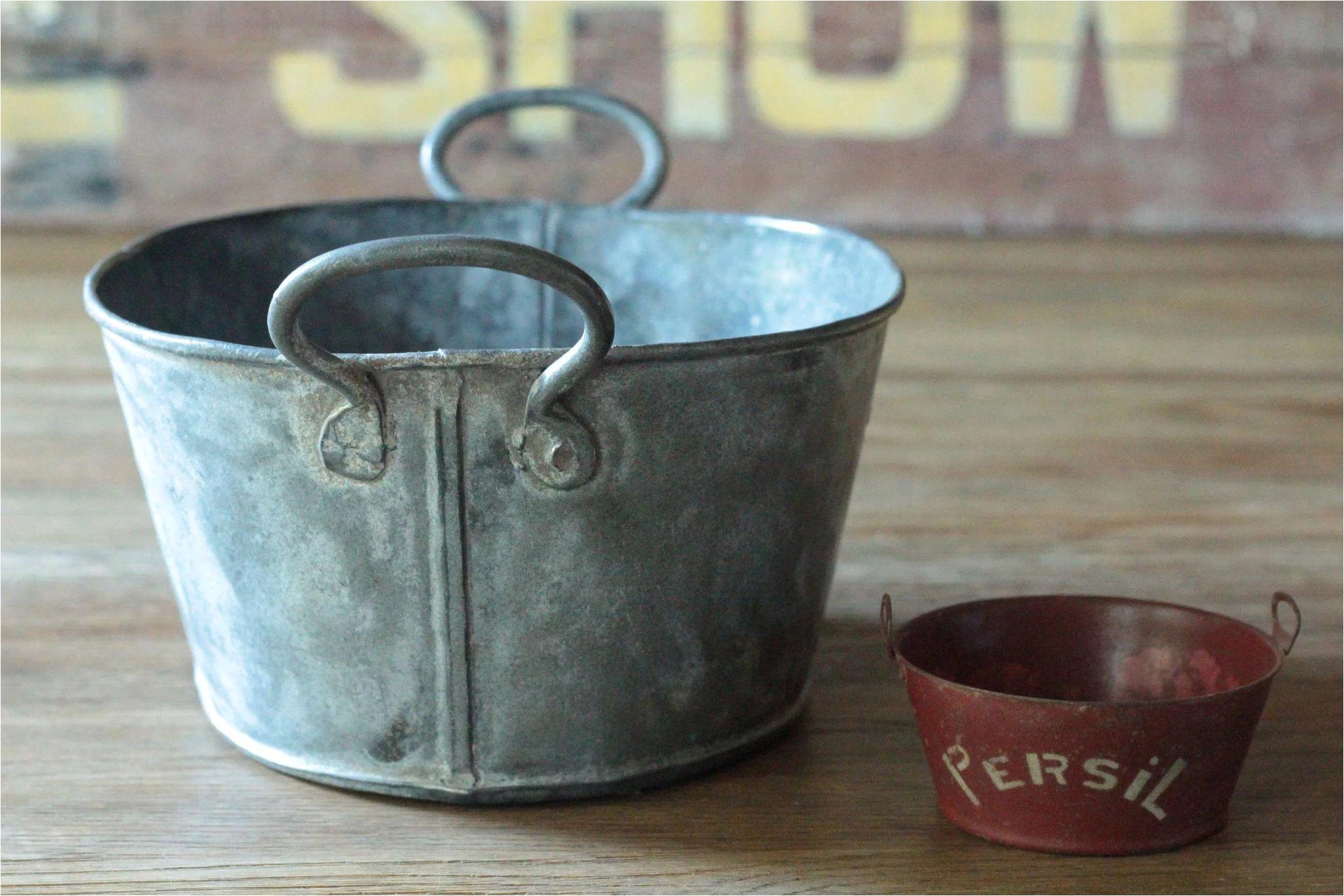 Antique English SMALL Galvanized Metal Wash