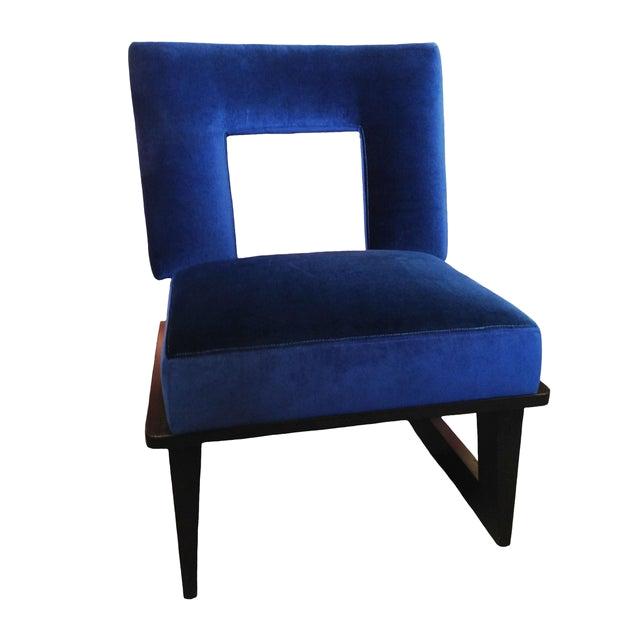 blue velvet accent chair