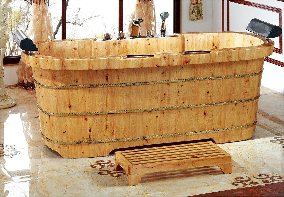 alfi brand 2 person cedar wooden 65 x 3075 freestanding soaking bathtub nbt1342