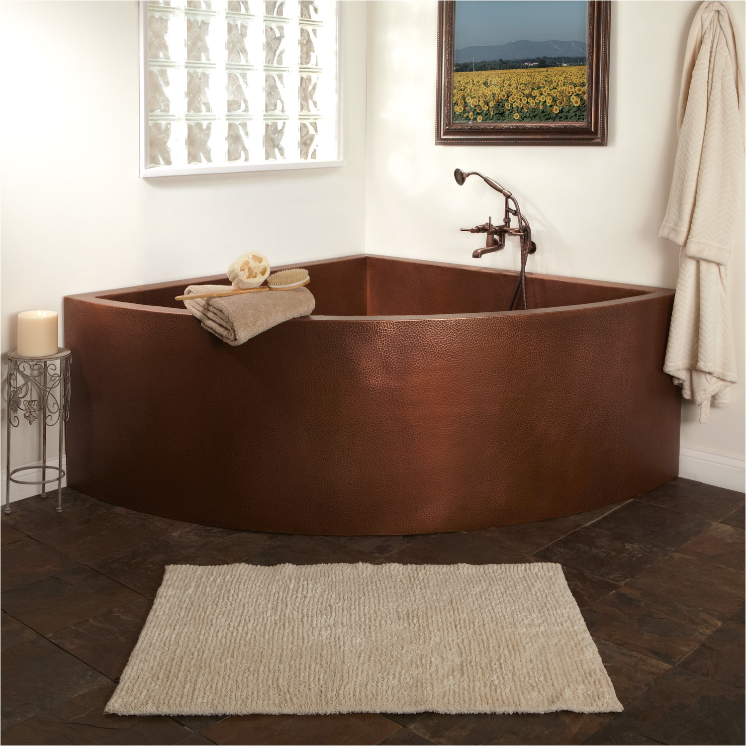 85 crosley double wall corner hammered copper soaking tub with seats