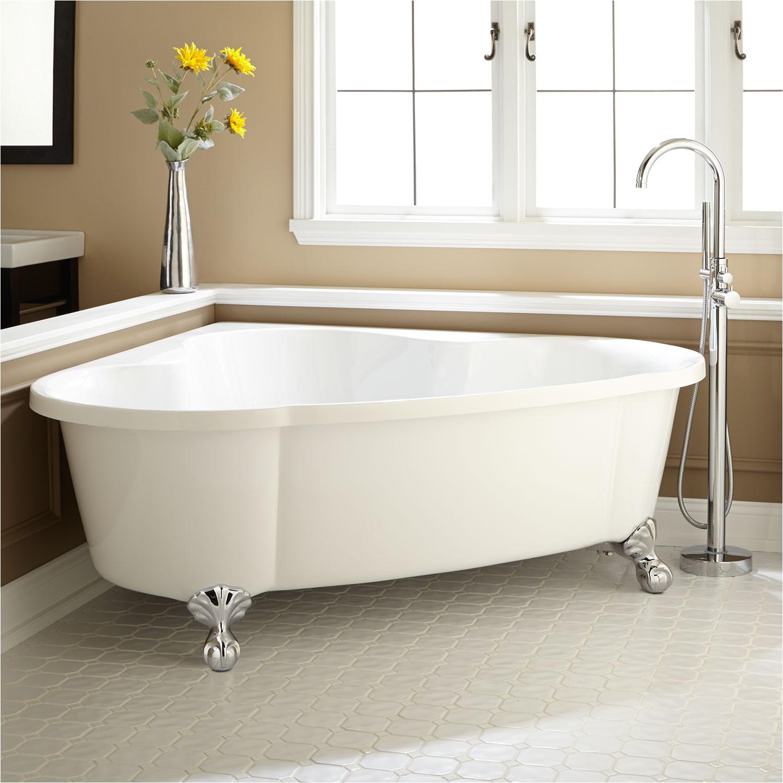71 talia acrylic corner tub on feet chrome modern ball feet no tap holes