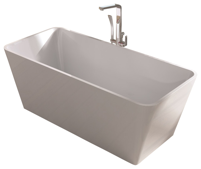 White Stand Alone Resin Bathtub White Medium bathtubs