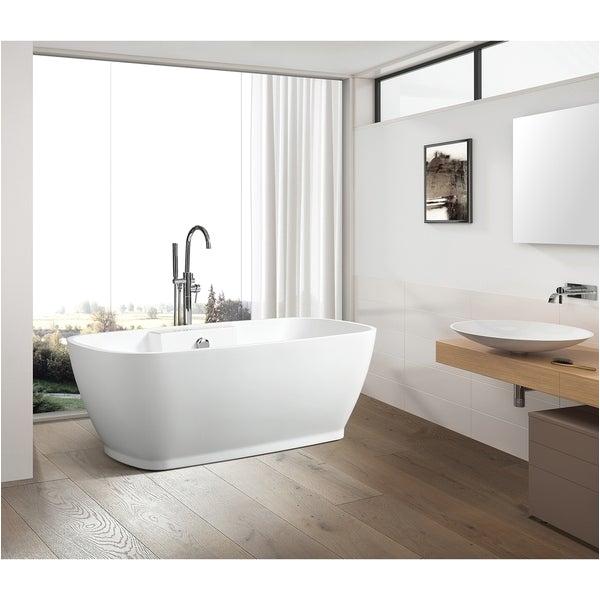 Stand Alone soaking Bathtubs Shop Vanity Art 59 Inch Freestanding Acrylic Bathtub