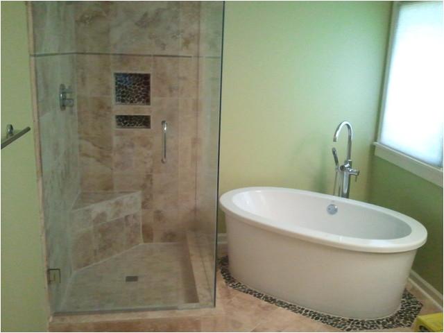 Shower and Stand alone tub contemporary bathroom atlanta