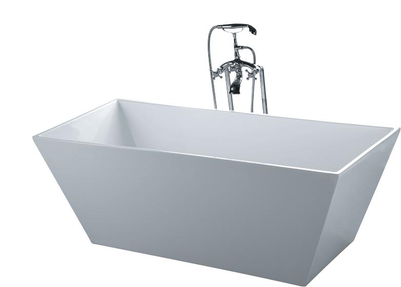 Standalone Acrylic Bathtub Bathtub soaking Rectangle & Floor Faucet Modern Stand