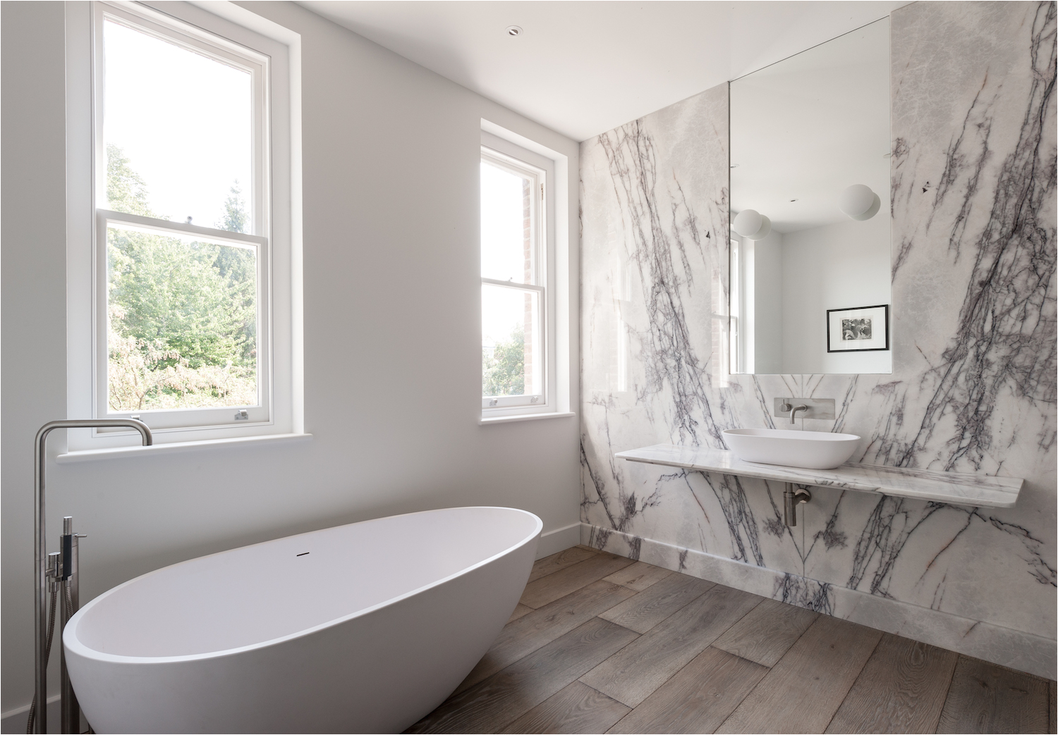 bathroom of the week in london a his and hers bath in bold turkish marble