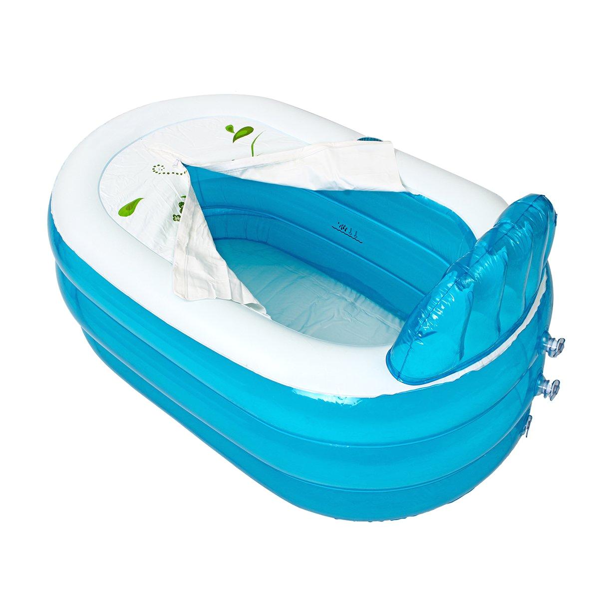 inflatable bathtub portable bath tub pvc camping travel folding spa bath with cushion pipe