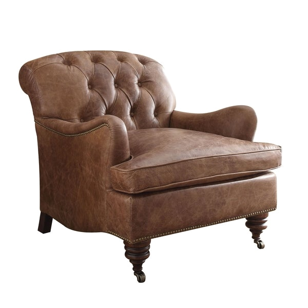 Top Grain Leather Accent Chair Shop Acme Furniture Durham top Grain Leather Accent Chair