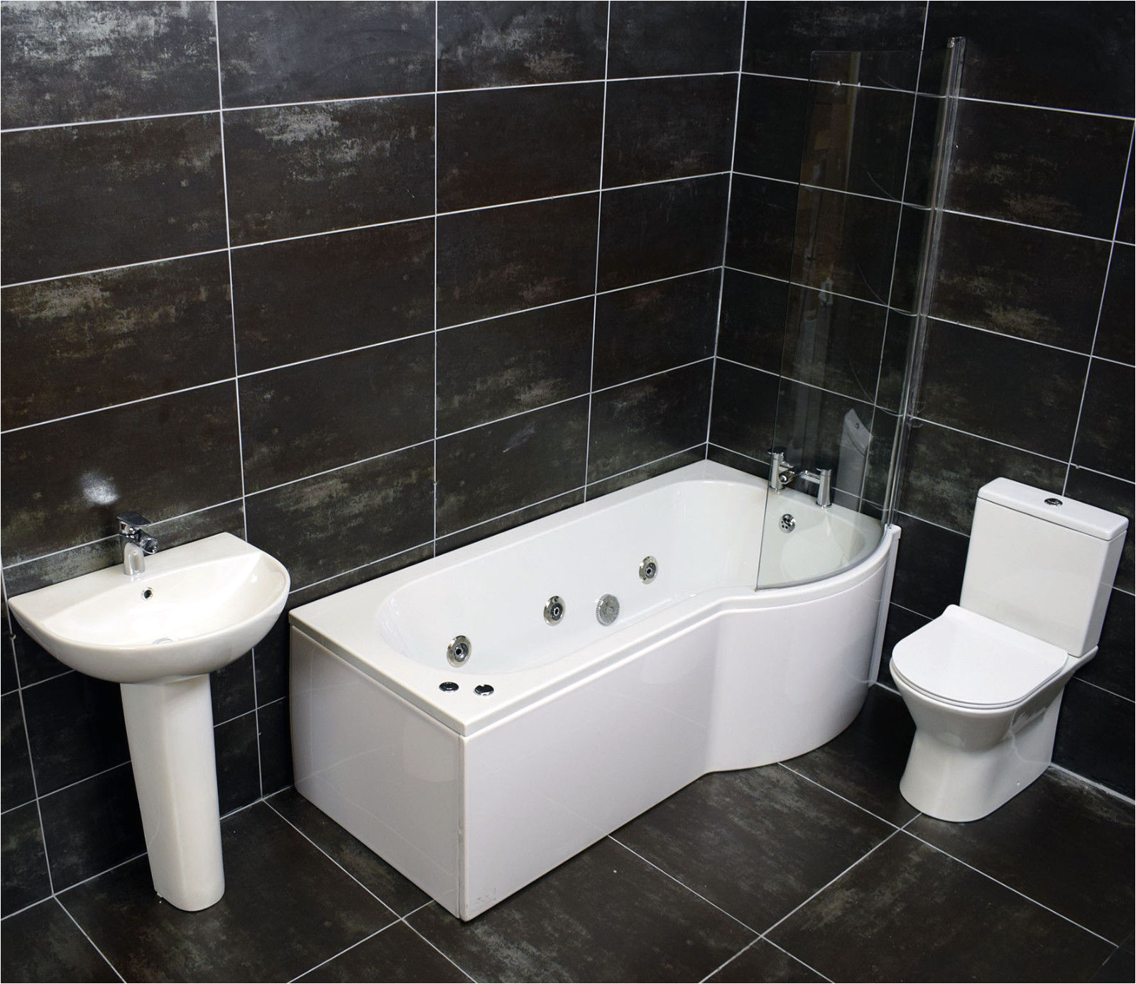 pact shower bath suite bathroom inc screen taps whirlpool jacuzzi option