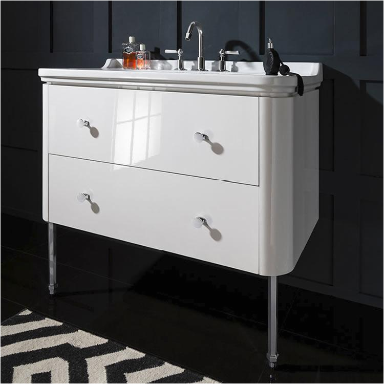 bauhaus waldorf 100 white gloss two drawer vanity unit and basin