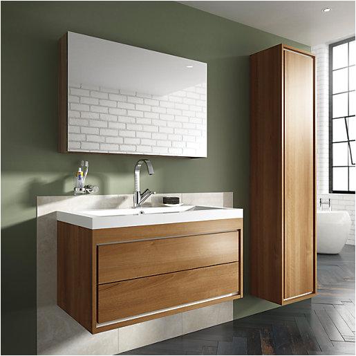 Uk Bathrooms Vanity Units Wickes Novellara Walnut Wall Hung Vanity Unit 600 Mm
