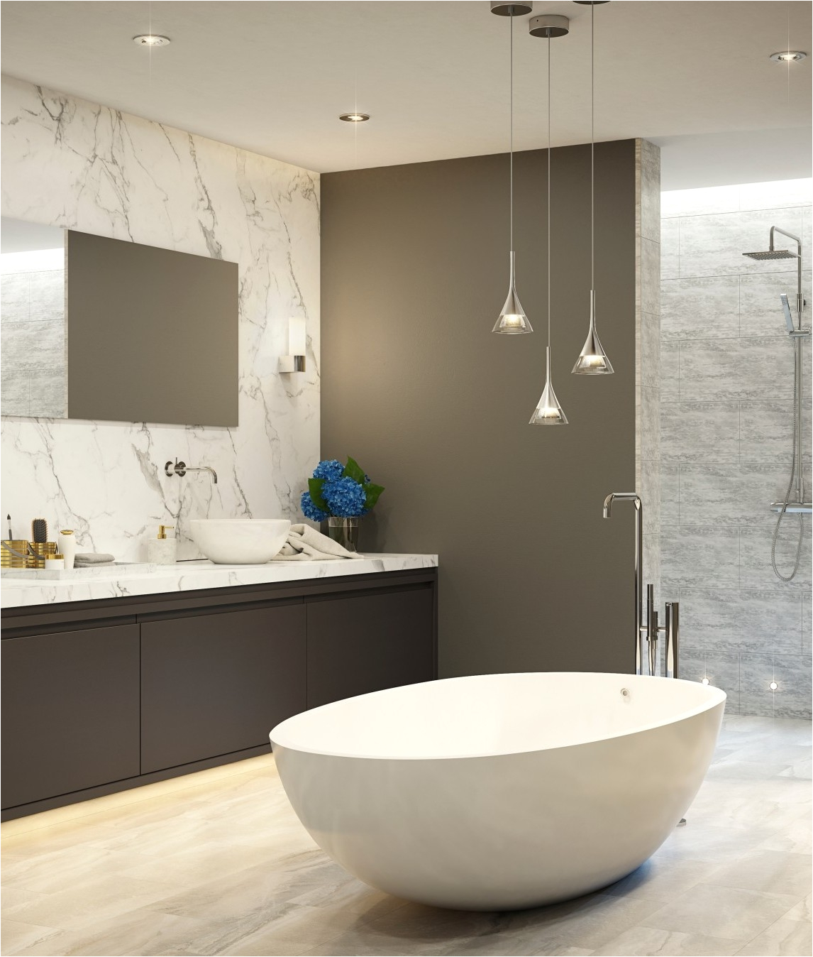 crystal cone led bathroom pendant ip44 rated