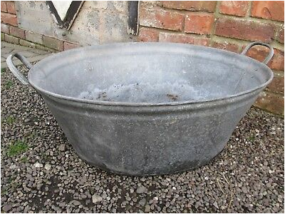 Old Vintage Galvanised Metal Bath Tub Garden Planter