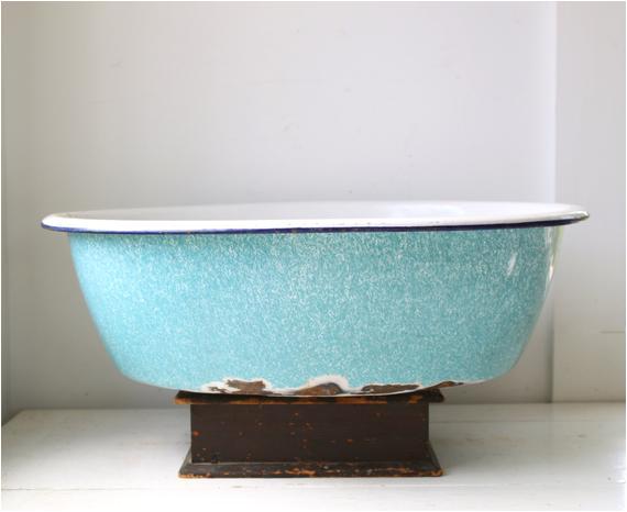 Vintage Enamel Baby Bathtub Vintage 1930s Enamel Ware Baby Basin Bathtub Robin S Egg