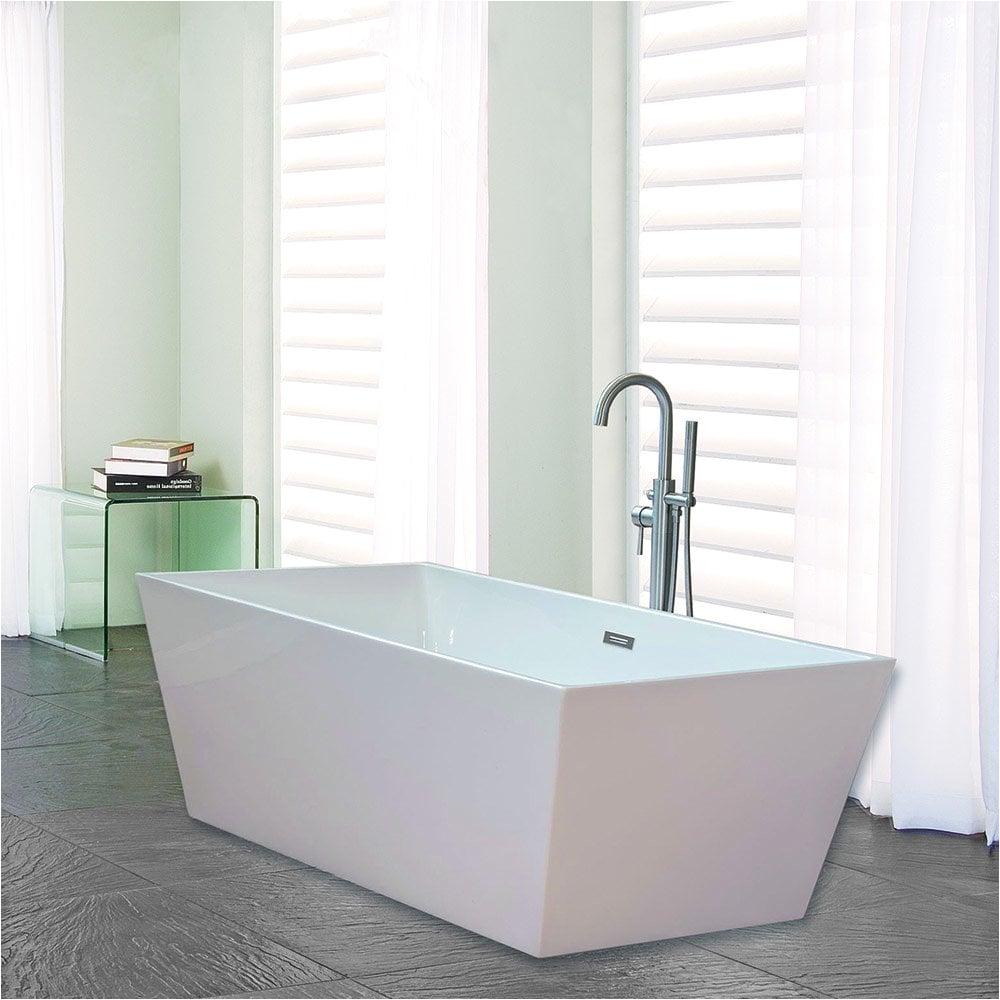 WoodbridgeBath Woodbridge Acrylic 67 Freestanding Bathtub Modern Soaking Tub