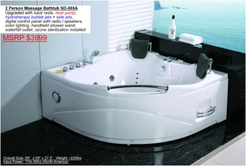 Whirlpool Bathtub Heater 2 Person Whirlpool White Corner Bathtub Spa with 11