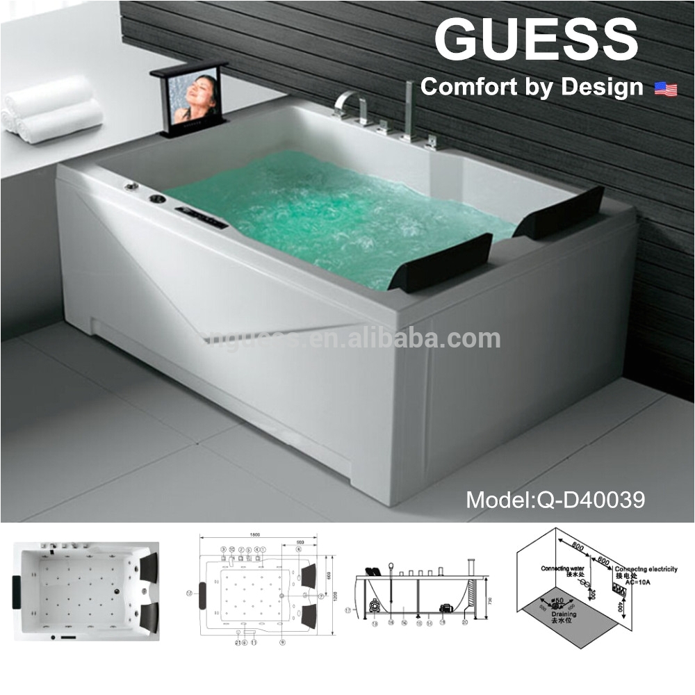 massage jet bathtub with tv whirlpool bathtub for two person 2 person indoor hot tub q d
