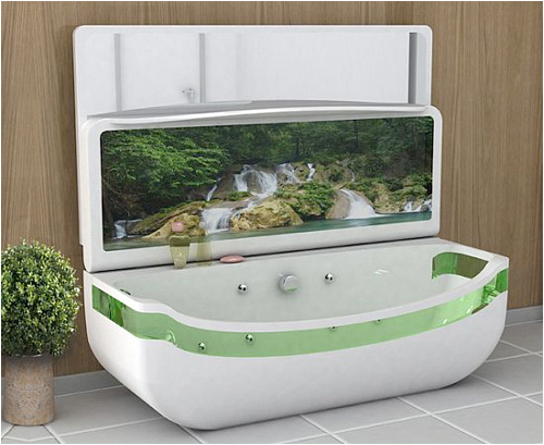 whirlpool bath tub with oled tv folds into basin