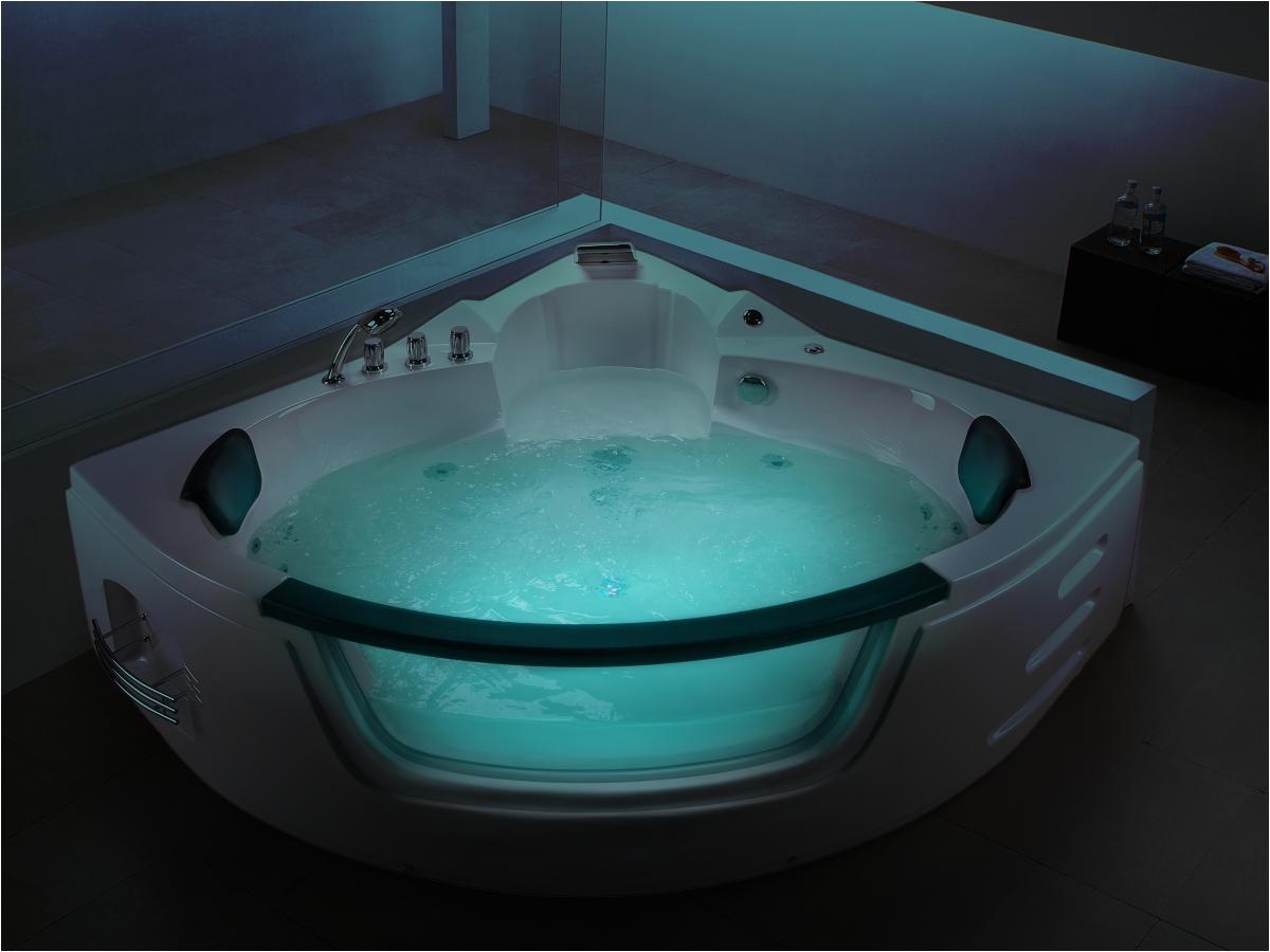 whirlpool bath tub mallorca white with 12 massage jets glass led lightening spa jakuzzi for your bathroom