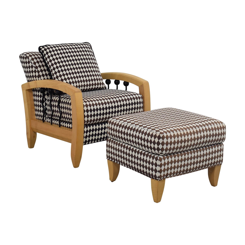 thayer coggin thayer coggin cherry wood black and white checkered accent chair with ottoman