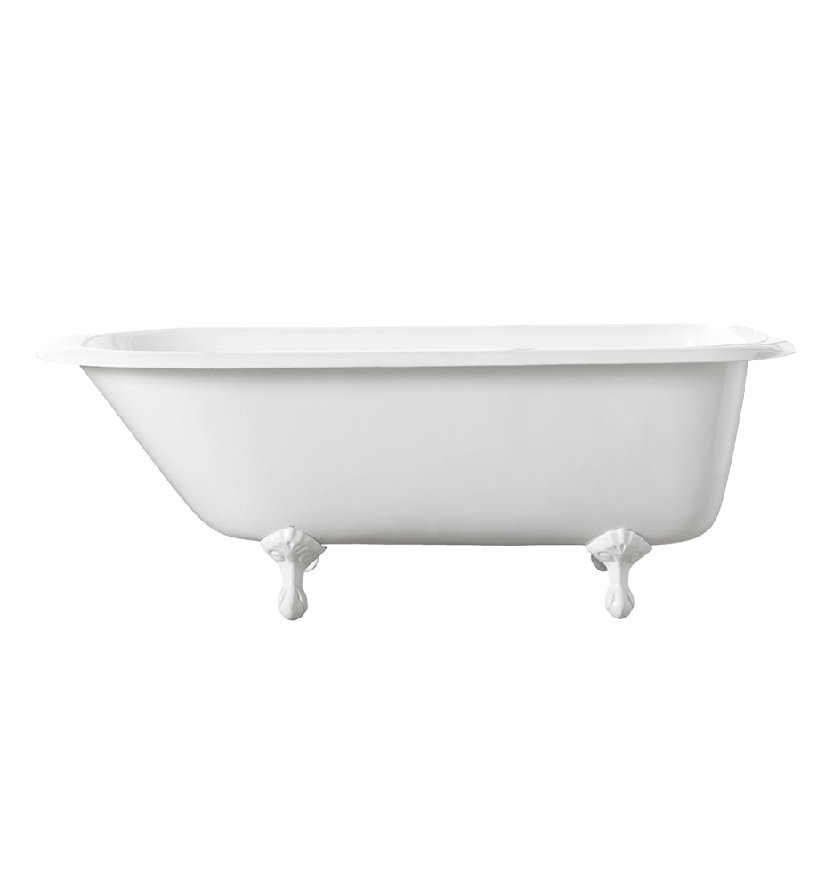 5 clawfoot tub with white exterior white feet