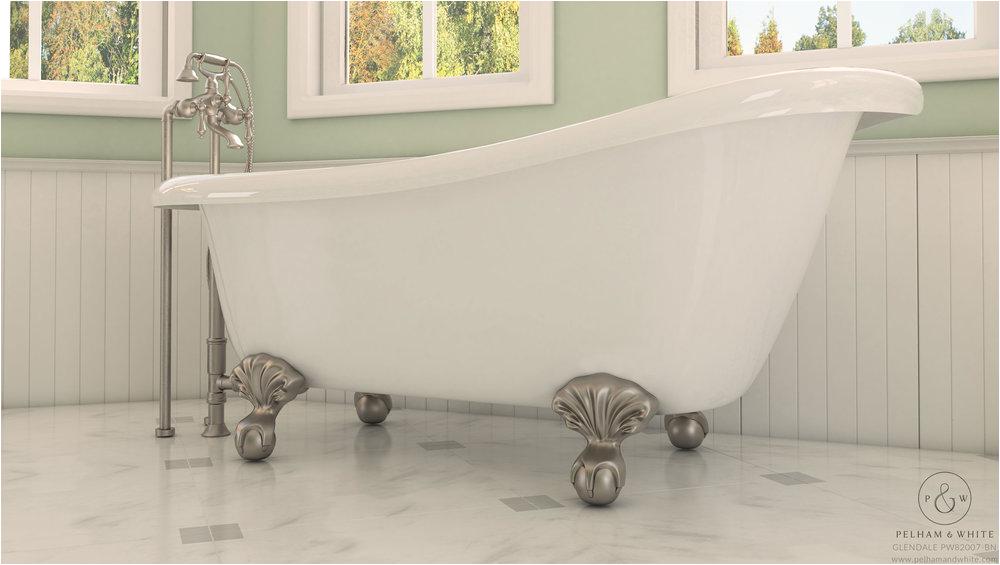 White Claw Foot Bathtub Glendale Clawfoot Brushed Nickel — Pelham and White