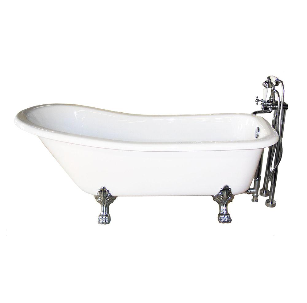 pctoria 5 feet freestanding clawfoot non whirlpool bathtub in white with chrome legs