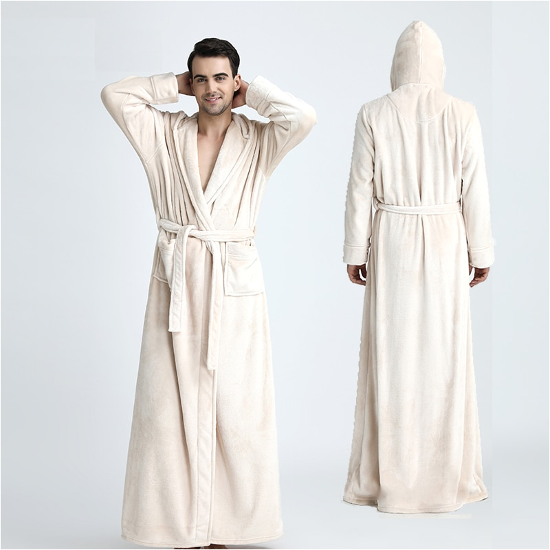 Women's Long Bathrobes Tall Men Hooded Extra Long thermal Bathrobe Plus Size Winter