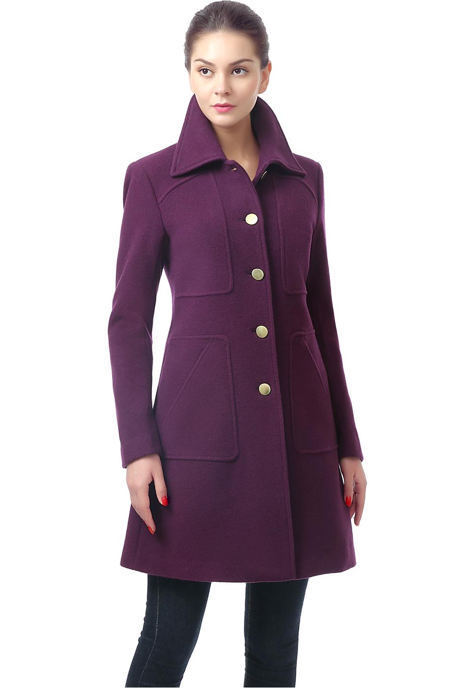 Women's Wool Bathrobes Bgsd Women S Elizabeth Wool Blend Patch Pocket Coat