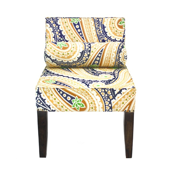 Yellow Green Accent Chair isabelle Navy and Yellow Paisley Armless Accent Chair