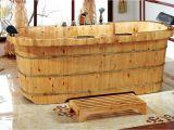 "2 Person Freestanding Bathtubs Alfi Brand 2 Person Cedar Wooden 65"" X 30 75"" Freestanding"