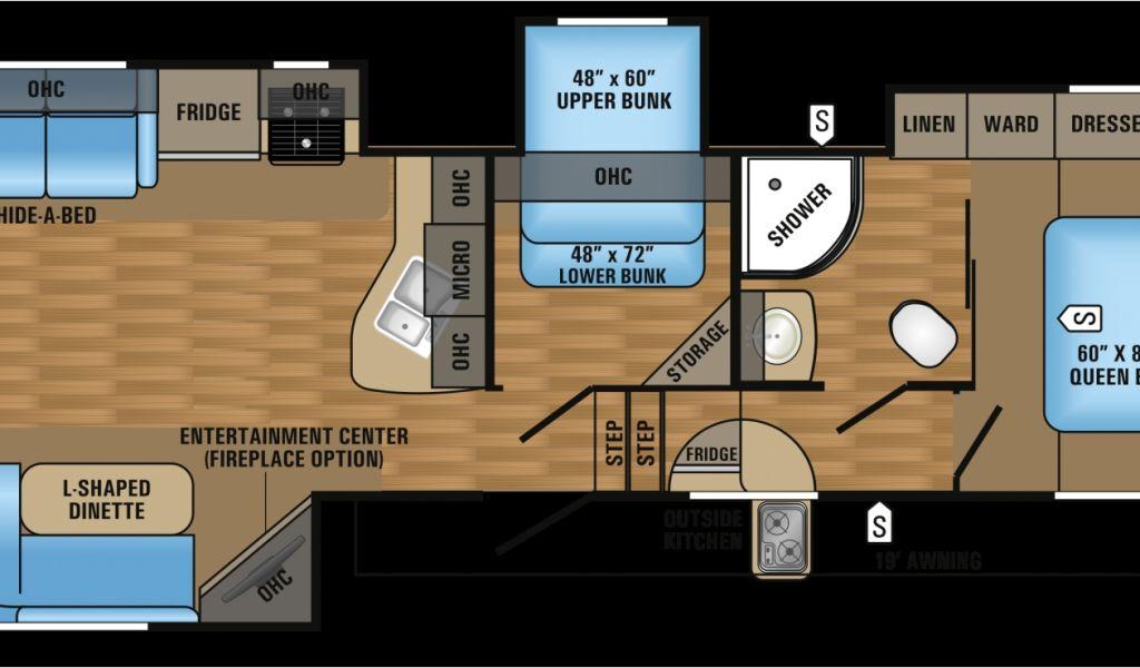 3 Bedroom 5th Wheel Rv 5th Wheel Camper Floor Plans 353ls Ok Tiny