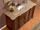 "54 Inch Bathroom Vanity Base 60"" Gorgeous Travertine Stone top White Sink Bathroom"