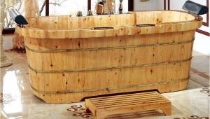 "75 Freestanding Bathtub Alfi Brand 2 Person Cedar Wooden 65"" X 30 75"" Freestanding"