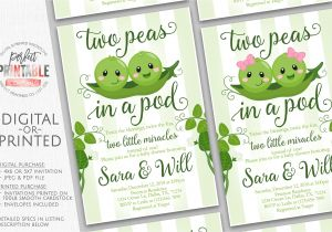 African American Two Peas In A Pod Baby Shower Decorations Two Peas In A Pod Baby Shower Invitation Twins Baby Shower