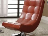 Armless Swivel Accent Chair Modern Mahogany Red bycast Leather Upholstered Chrome